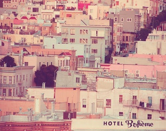 San Francisco Photography, Pastel Houses, Shabby Chic, Cityscape, Blue Gray, Taupe, Vintage Tones, Pastel, Dreamy, Urban, holiday sale, fPOE