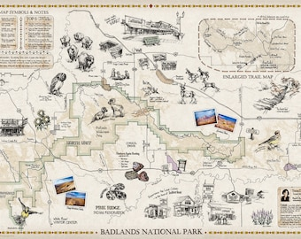 Hand drawn Map -- Beautifully Illustrated Guide to the Badlands of SD