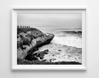 La Jolla Black and White Beach Decor - San Diego Cliffs, California Beach Fine Art Print - Small and Oversized Art Prints Available