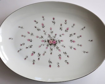 Large Vintage China Oval Platter, Harmony House Fine China Rosebud Pattern Platter - V109