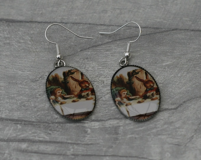 Mad Hatter Tea Party Earrings, Alice in Wonderland Illustration, Dangle Earrings, Alice In Wonderland