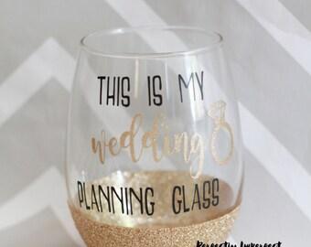 Stemless Wine Glass/Glitter Dipped Wine Glass/Glitter Wine Glass/Wedding Planning Glass/Engagement Gift/Bridal Shower Gift/Gift for Bride