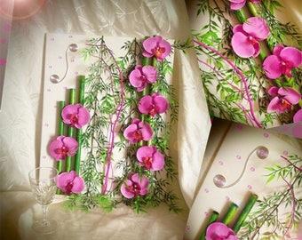 Art print floral artificial pink orchids