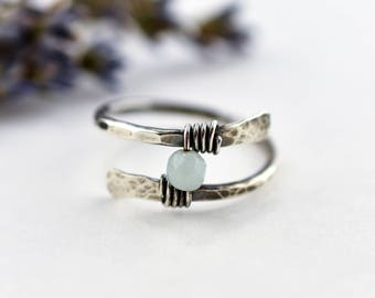 Hammered Silver Ring, Open Rustic Ring Trend, Statement Ring for Her, Trending Jewelry, Amazonite Stone Sterling Silver Wrap Ring