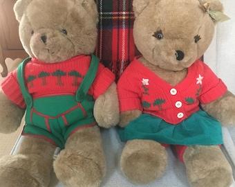 Rare Set of 2 Christmas Teddy Bears dated 1984 AMC CHRISTMAS BEARS 22 inch