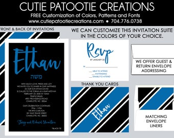 Bar Mitzvah Invitations - RSVP Card - Thank You Note - Party Card - Envelope Addressing - Save the Date - Custom Colors Available