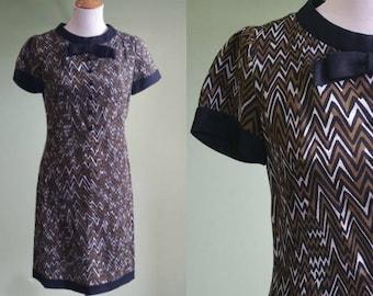 1960s Zigging and Zagging Shift Dress - Vintage 60s Mod Dress - Small