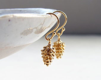 Gold Pine Cone Earrings ~ Matte Gold Plate Pine Cone ~ Holiday Gift ~ Woodland Jewelry ~ Holiday Gift ~ Gift for Her, Daughter and Mom