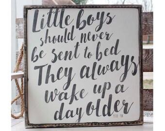 Little boys should never distressed wooden sign framed