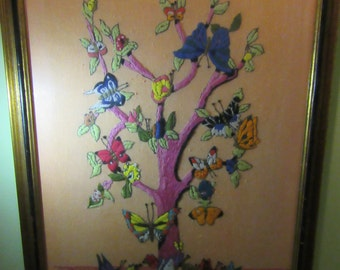DANCE LIKE A BUTTERFLY /  Large And Colorful 30 Inch Tall Crewel / Metamorphosis / Tree Of Butterflies / Wood Frame / Anthropologie Style
