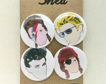 David Bowie - Ziggy Stardust - Life on Mars - 4 pin button badge set