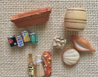Miniature set of foods, cans, bottle, with miniature planter/dish, and wood barrel. 12 pieces. Made in Mexico.
