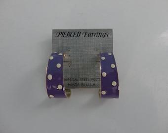 VINTAGE purple white polka dot POST hoop EARRINGS