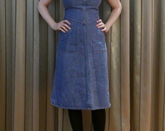 Vintage 1970s InWear blue denim a-line dungarees DRESS overalls Small