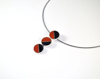 Sterling Silver Pendant - Divided Circles -  Black and Red - Modern Design
