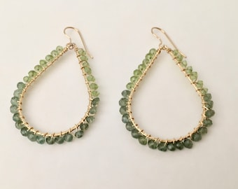 Green apatite and peridot gemstone gold hoop earrings