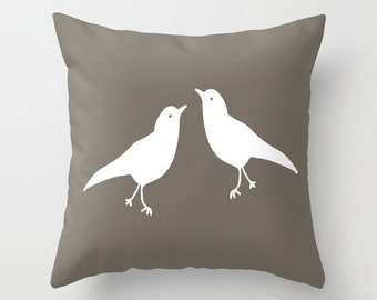 Decorative Bird Pillow Cover, rustic decor, animal pillow, neutral love birds pillow, c pillow,  pillow