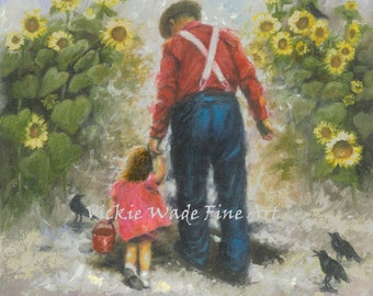Grandpa Art Print, sunflowers walk, grandfather, granddaughter, dad, father, old farmer, crows, sunflower paintings, Vickie Wade art