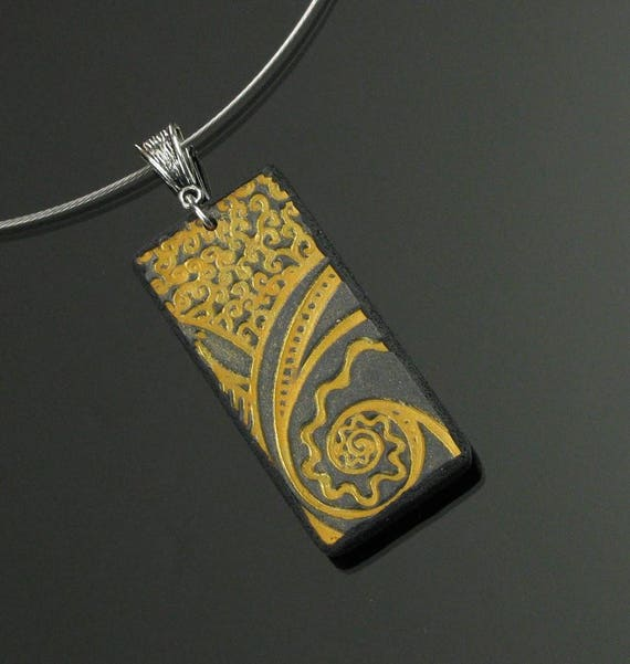 Gold & Black Clay Necklace, Unique Handmade Necklace, Modern Necklace Gift, Mother's Day, Wife Gift, Unique Art Jewelry Gift for Her, Women