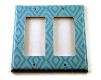 Switch Plate Cover Wall Decor Double Rocker Light Switch Cover   Switchplate  in  Blue Ikat  (134DR)