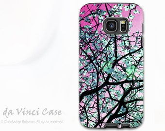 Tree Blossom Case for Samung Galaxy S7 - Premium Dual Layer Galaxy S 7 Case with Pink and Green Floral Art - Aqua Blooms - by Da Vinci Case