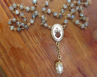 Vintage Religious Medal Necklace, Rosary Necklace, Catholic Jewelry, Two Girls Gems