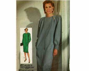 Easy to Sew Raglan Sleeve Dress 1980s Uncut Sewing Pattern Sizes 8 10 12 bust 31 1/2 32 1/2 34 Simplicity 7743 Loose fitting Straight Dress