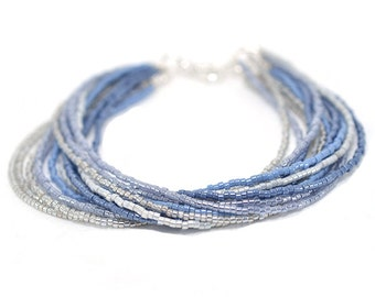 Seed Bead Bracelet | Ombre Beaded Bracelet | Blue and Silver Beaded Bracelet | Multi Strand Bracelet