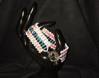 Number 30 Cleopatra style hand woven bracelet. Maine Artist