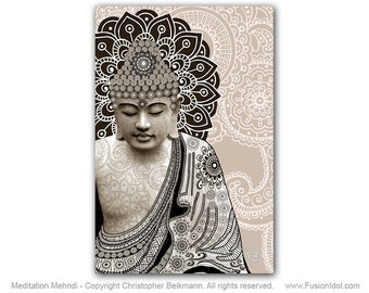 Meditation Mehndi - Paisley Buddha Art Canvas - Tan and Black Zen Buddha Art Giclee by Christopher Beikmann