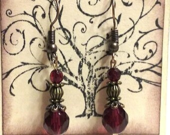 Burgundy earrings, Bronze earrings, Burgundy crystal earrings on bronze