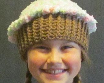 Crochet Cupcake Hat ~ Size Medium ~ White, green and pastel pink top/Medium brown bottom