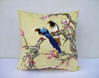Flower Bird Pillowcase Flowers Pillow Bird Cushion Cover  Yellow Pillow Decorative Velvet Pillow Black Pillow Sitting Birds