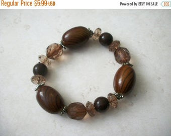 ON SALE Retro BOHO Neutral Earthy Brown Plastic Faceted Bracelet 30317