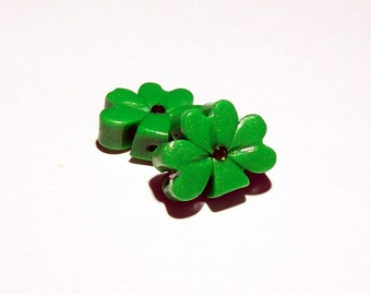 Shamrock Polymer Clay Beads Small Size with Gloss Finish - Vertical Hole