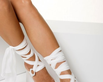 """Bridal sandals with silk laces, Silver Wedding flats, Silver sandals, Customizable """"Agape"""" NEW SS17 - Free standard shipping"""