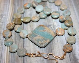 Variscite Blue Sea Sediment Jasper Necklace Square Pendant 23kgf Sterling Double Hook Clasp  D242