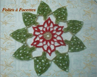 Christmas, Star and Christmas tree crochet doily