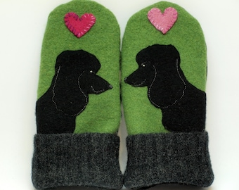 Black Poodle Wool Sweater Mittens Green and Black Poodle Applique and Leather Palm Fleece Lining Eco Friendly Upcycled  Size M/L
