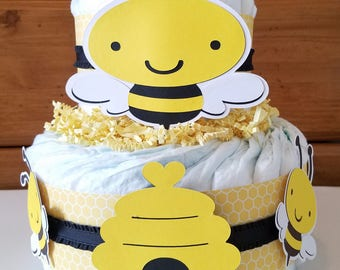 Babee Diaper Cake, Babee Shower, Bumble Bee Baby Shower, Mommy to Bee, Yellow and Black, Bee Hive, Bee Baby Shower, Neutral