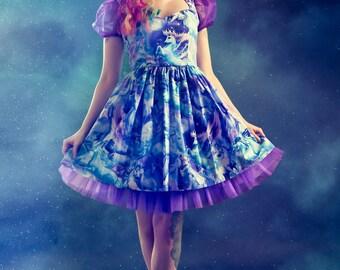 Fantasy Dress Pastel Goth Unicorn Pegasus Pin up Dress Galaxy Print Purple Blue Magic Fairy kei Fairygoth Cosplay Kawaii