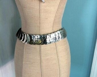 Final Vintage Silver Hammered Metal Stretch Belt