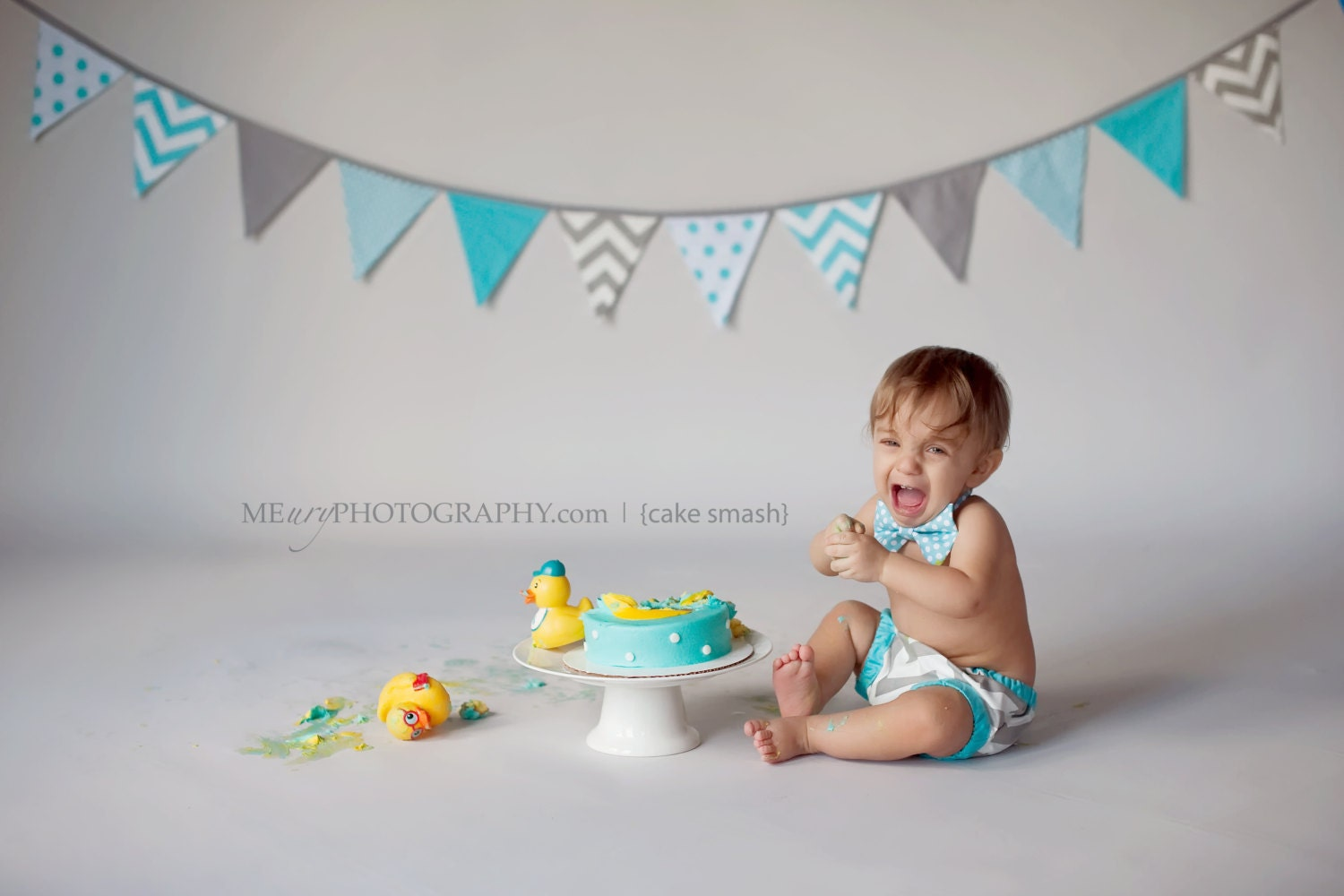 Cake Smash Outfit For Boy Gray And Aqua Diaper Cover And Bow