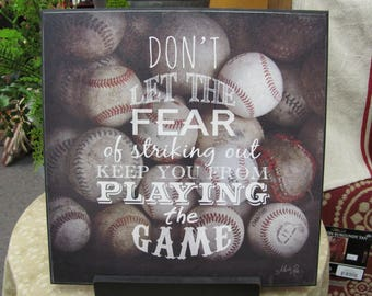 Sports Wall Decor, Baseball Decor,Inspirational Sports Quotes,Man Cave,Wooden Sports Sign,Marla Rae,12x12,Don't Let The Fear...