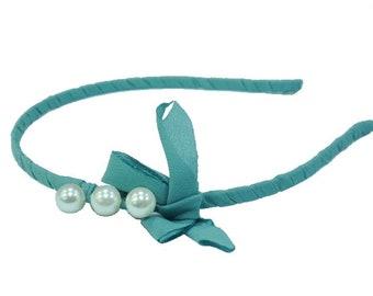Tight beaded headband and bow - blue