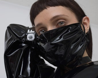 cyber face mask - vinyl raver mask - goth surgical mask - bdsm - fetish - MADE TO ORDER