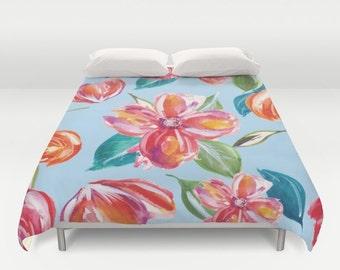 Tropical Flowers Duvet Cover - Modern Flowers Duvet Cover - Modern Decor -  Full Queen King Size - Floral Bedding - Aldari Home