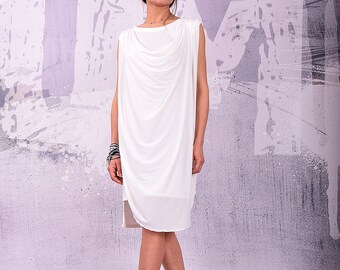 Midi dress, loose dress, tunic dress, summer dress, sleeveless dress, white dress, layered dress, simple dress by urbanmood -UM-129-PU
