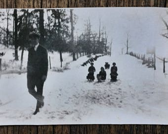 Original Vintage Photograph The Early Snow Days
