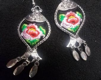 Floral embroidered earrings